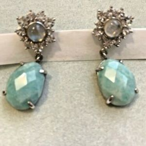 Jade and Crystal drop dangle earrings (post backs)